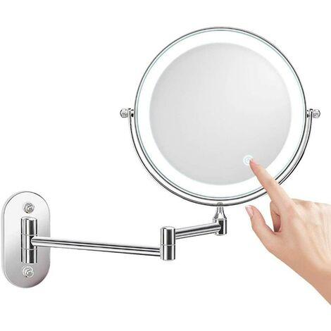 8 Pouces Miroir Grossissant Lumineux Mural x10, LED Miroirs de Maquillage avec 0.5h Fonction d'arrêt Automatique, Alimenté par 4 Piles AAA (Non Inclus) Idéal pour Salle de Bain