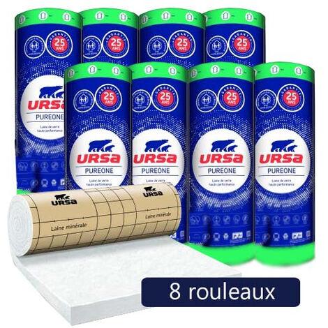 8 rouleaux laine de verre PureOne 32 QP revêtu kraft - Ep. 120mm - 25,92m² - R 3.75