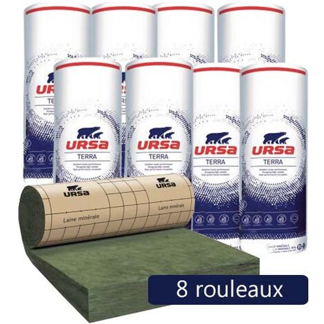 8 Rouleaux laine de verre URSA PRK 32 TERRA revêtu kraft - Ep. 120mm - 25.92m² - R 3.75