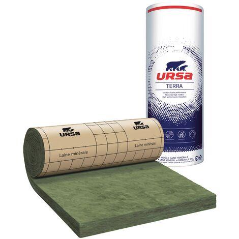 8 Rouleaux laine de verre URSA PRK 32 TERRA revêtu kraft - Ep. 140mm - 25.92m² - R 4.35
