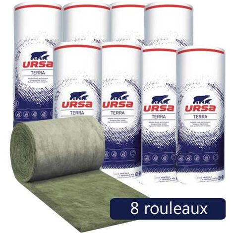 8 rouleaux laine de verre URSACOUSTIC TERRA nue - Ep. 60mm - 86,40m² - R 1.5