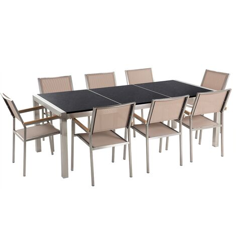 8 Seater Garden Dining Set Black Granite Triple Plate Top and Beige Chairs GROSSETO