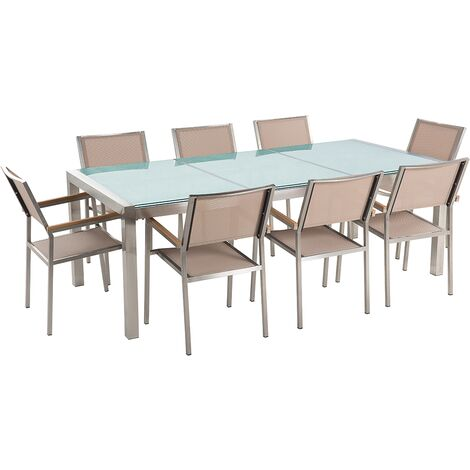 8 Seater Garden Dining Set Cracked Glass Top with Beige Chairs GROSSETO