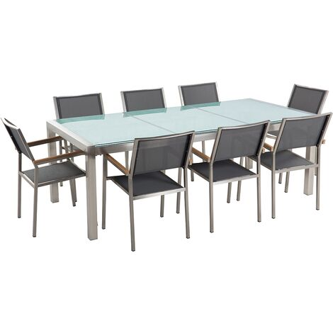 8 Seater Garden Dining Set Cracked Glass Top with Grey Chairs GROSSETO