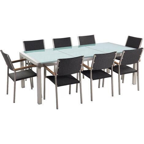 8 Seater Garden Dining Set Cracked Glass Top with Rattan Chairs GROSSETO