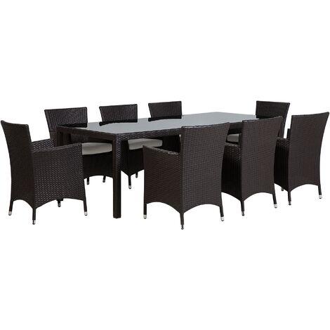 8 Seater Garden Dining Set Dark Brown ITALY