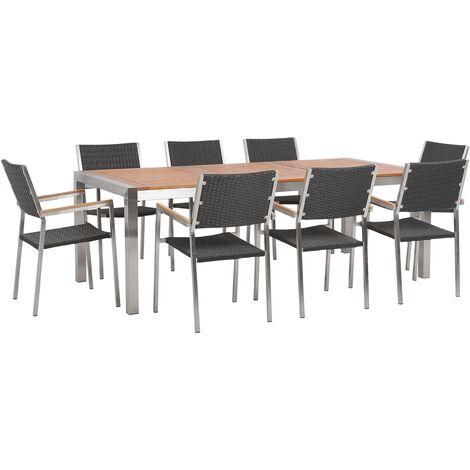 8 Seater Garden Dining Set Eucalyptus Wood Top Black Rattan Chairs Grosseto