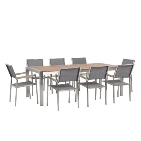 8 Seater Garden Dining Set Eucalyptus Wood Top with Grey Chairs GROSSETO