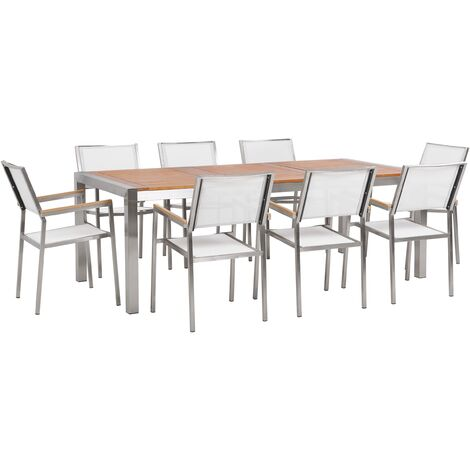 8 Seater Garden Dining Set Eucalyptus Wood Top with White Chairs GROSSETO