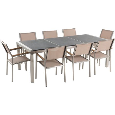 8 Seater Garden Dining Set Grey Granite Top and Beige Chairs GROSSETO