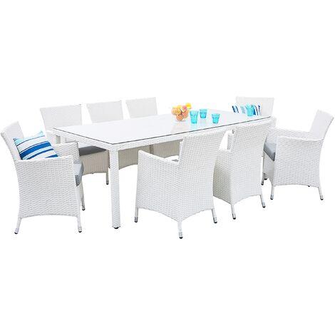 8 Seater Garden Dining Set White ITALY