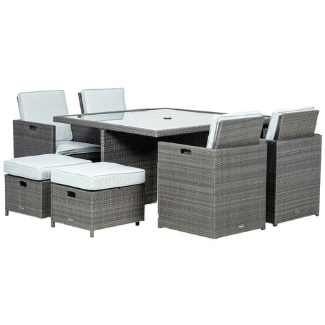 8 Seater - Marlow Deluxe Cube Set - 125cm Square Table With Parasol Hole - 4 Chairs And 4 Stool/footstools Incl. Cushions