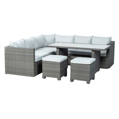 8 Seater Marlow Triangle Corner Dining Set - 2 Pcs Lh&rh 2 Seater Seats,1 Pc Triangle Corner Seat With 150 X 75cm Rectangle Table & 2 Seat Stools Incl. Cushion
