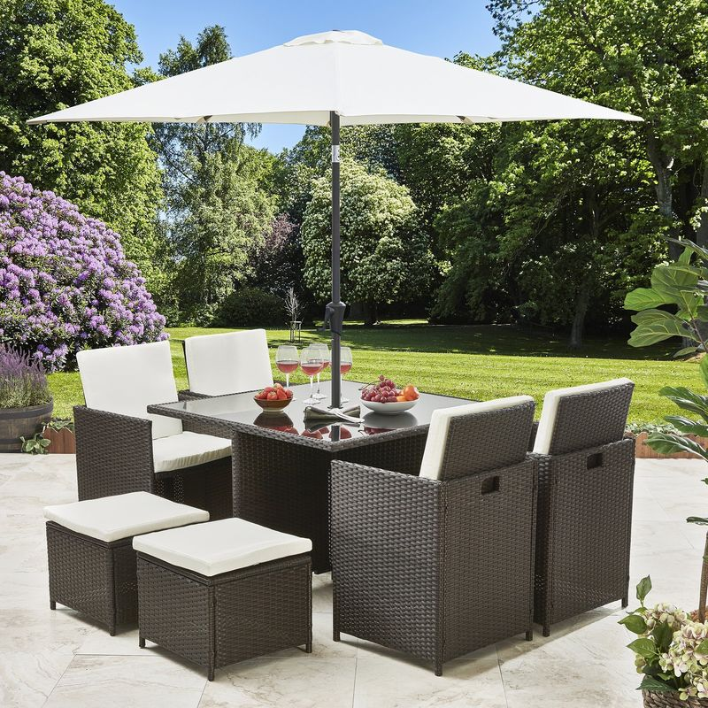 8 Seater Rattan Cube Dining Set With