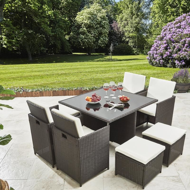 8 Seater Rattan Cube Dining Set With Parasol Rattan Garden