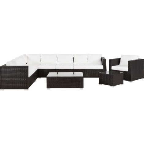 8 Seater Rattan Garden Lounge Set Beige XXL