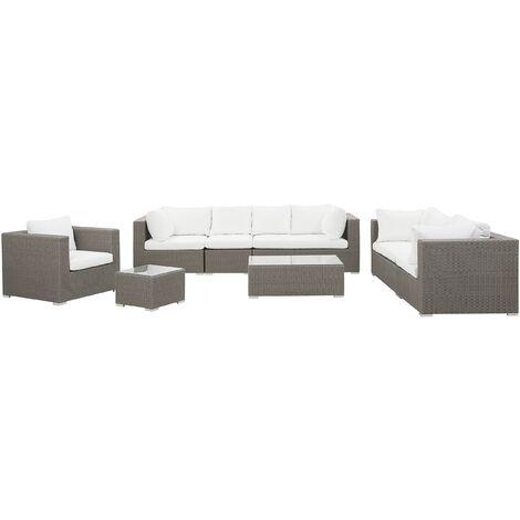 8 Seater Rattan Garden Lounge Set Taupe MAESTRO II