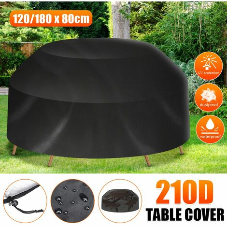 8 Seater Waterproof Outdoor Round Tablecloth for Home, Black Picnic Table Cover (Black, 80x120 / 180cm (HxW))