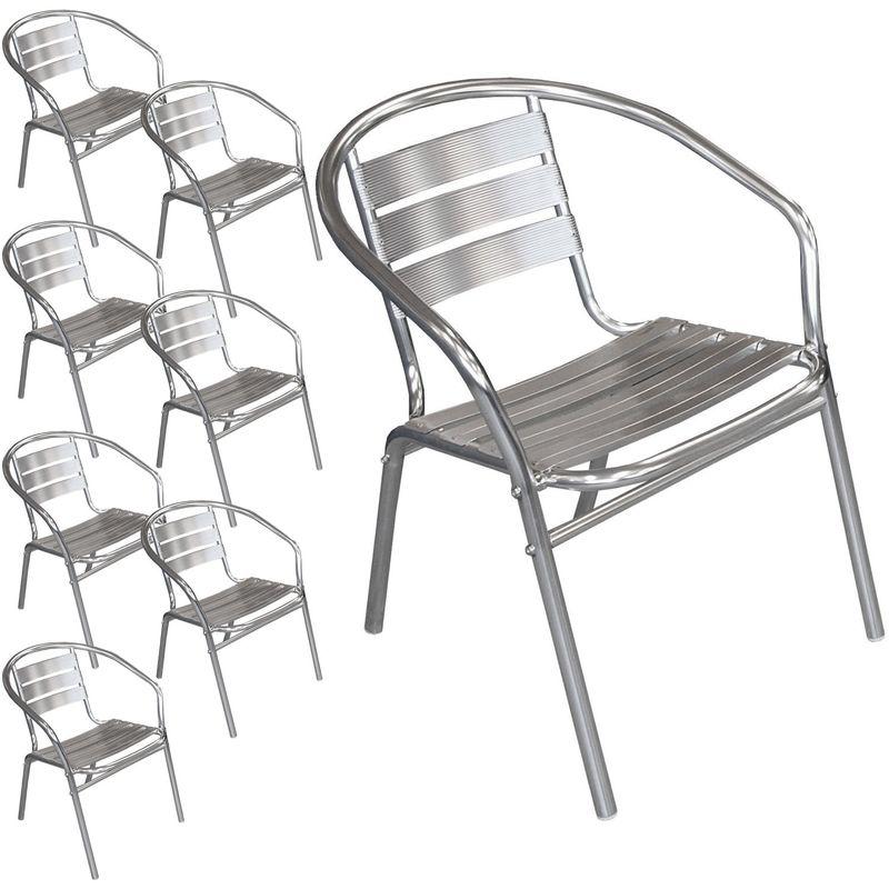 Multistore 2002 - 8 Stück Bistrostuhl stapelbar Aluminium Stapelstuhl Campingstuhl Gartenstuhl Balkonmöbel Gartenmöbel Silber