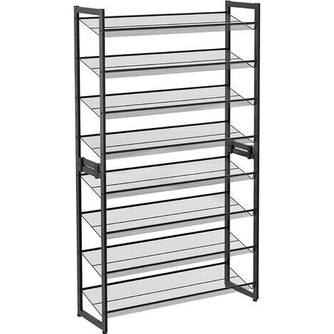 8-Tier Shoe Rack, Set of 2 Stackable 4-Tier Shoe Organiser, Metal Shoe Storage with Adjustable Mesh Shelves, Flat or Angled, Mountable, Black/Cool Grey