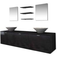 8-tlg. Badmöbel und Waschbecken Set Schwarz
