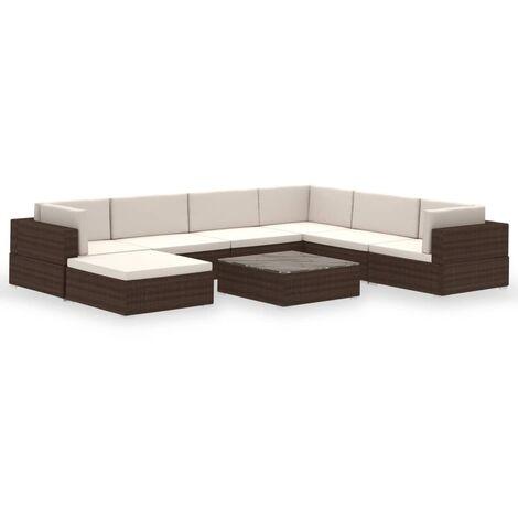 8-tlg. Garten-Lounge-Set mit Auflagen Poly Rattan Braun
