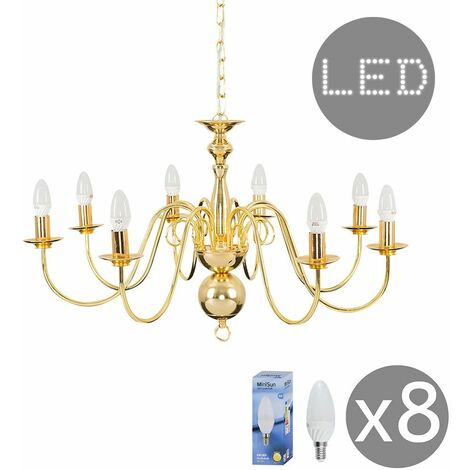 8 Way Ceiling Light Chandelier + 4W LED Candle Bulbs - Gold - Gold