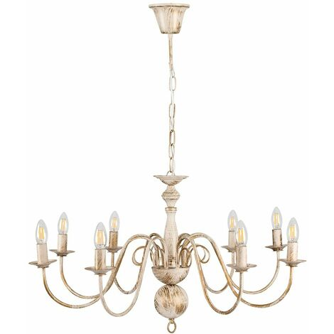 8 Way Ceiling Light Chandelier + 4W LED Filament Candle Bulbs