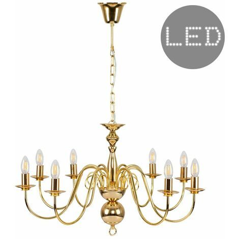 8 Way Ceiling Light Chandelier + 4W LED Filament Candle Bulbs - Gold - Gold