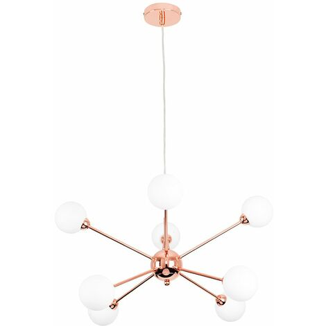 8 Way Copper Ceiling Pendant Light With White Glass Shades + 3W LED G9 Bulbs Warm White