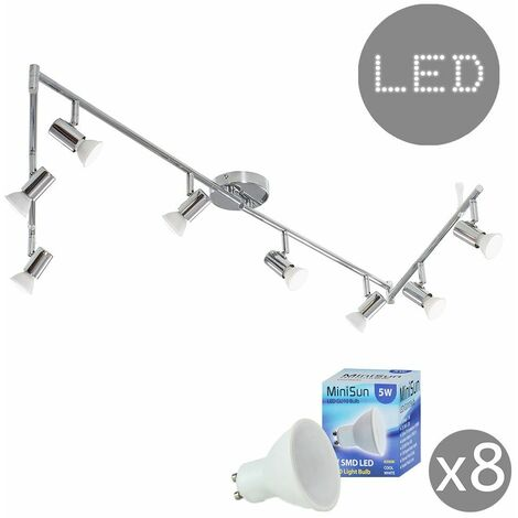 8 Way Flexi Z Adjustable Ceiling Spotlight + GU10 LED Bulbs - Cool White - Silver