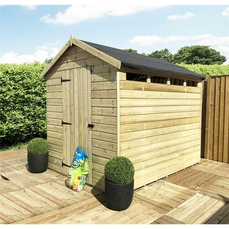 8 x 10 Security Pressure Treated Tongue & Groove Apex Shed + Single Door + Safety Toughened Glass