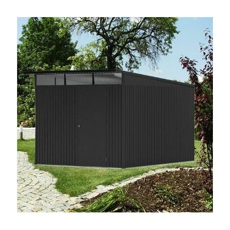 8 x 12 Xx Large Premier Heavy Duty Metal Dark Grey Shed With Double Doors (2.6m x 3.8m)