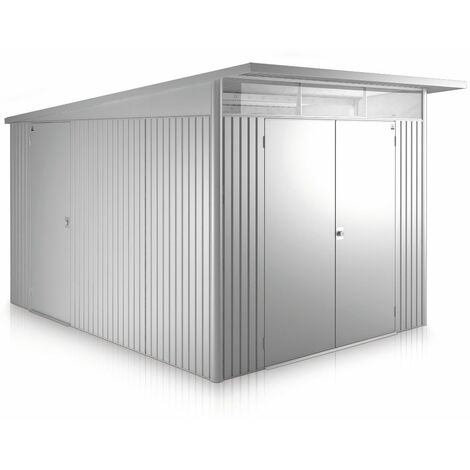 8 x 12 Xx Large Premier Heavy Duty Metal Metallic Silver Shed With Double Doors (2.6m x 3.8m)