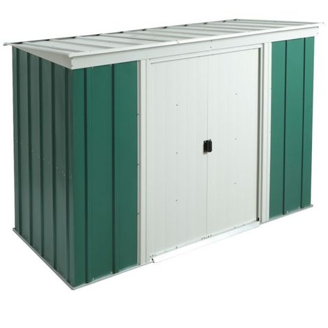 8 x 4 Deluxe Green Metal Pent Shed (2.54m x 1.19m)