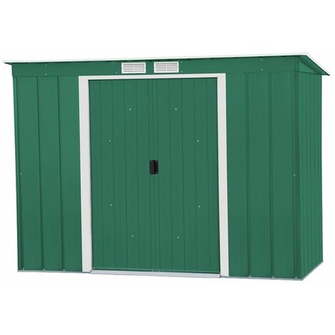 8 x 4 Value Pent Metal Shed - Green (2.63m x 1.24m)