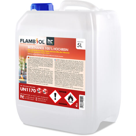 8 x 5 Litre Bioéthanol à 100 % dénaturé en bidon de 5 litres