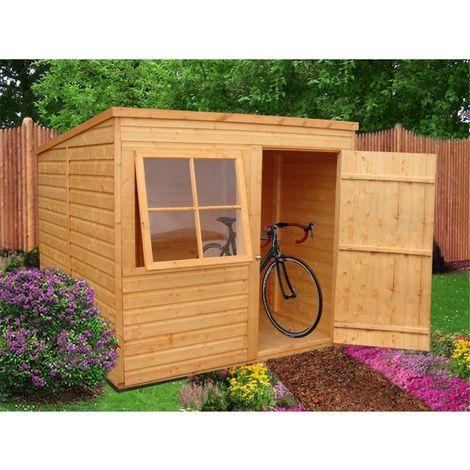8 x 6 (1.83m x 2.39m) - Tongue And Groove - Pent Garden Shed - 1 Opening Window - Single Door - 10mm Solid OSB Floor