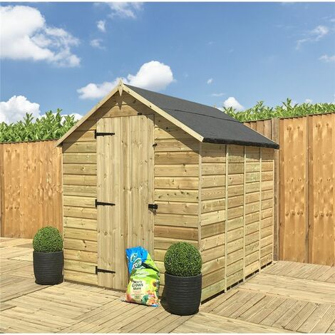 8 x 6 **Flash Reduction** Super Saver Windowless Pressure Treated Tongue And Groove Single Door Apex Shed (Low Eaves)