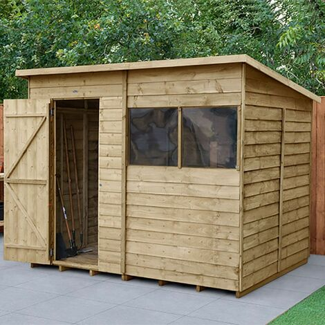 8' x 6' Forest Overlap Pressure Treated Pent Wooden Shed