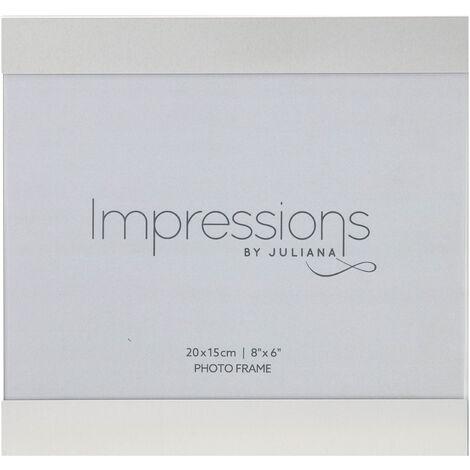 "main image of ""8"" x 6"" - IMPRESSIONS Brushed Silver Slide Photo Frame"""
