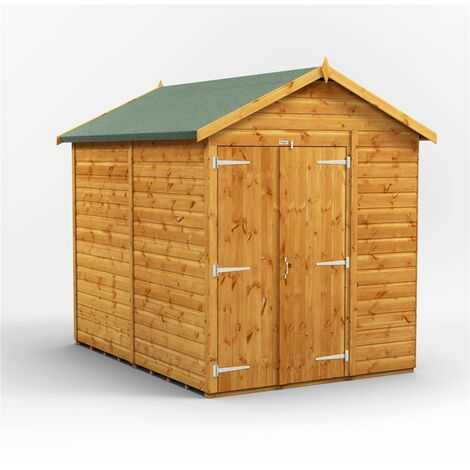 8 x 6 Premium Tongue and Groove Apex Shed - Double Doors - Windowless - 12mm Tongue and Groove Floor and Roof