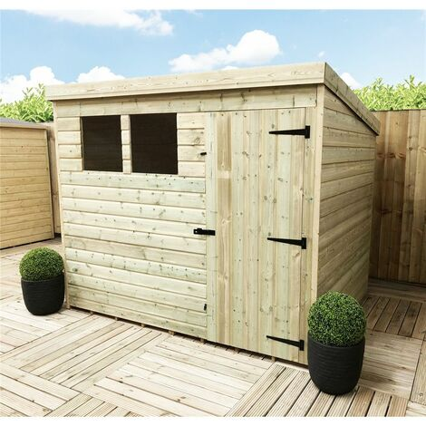 8 x 6 Pressure Treated Tongue And Groove Pent Shed With 2 Windows And Single Door + Safety Toughened Glass