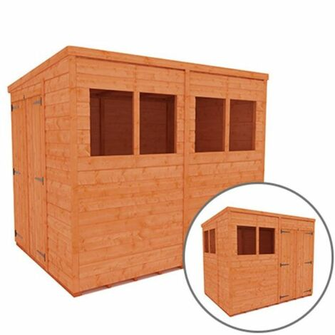 8 x 6 Tongue and Groove Pent Shed with Double Doors (12mm Tongue and Groove Floor and Roof)