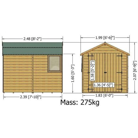 8 x 6 Warwick Shiplap Shed with Double Doors