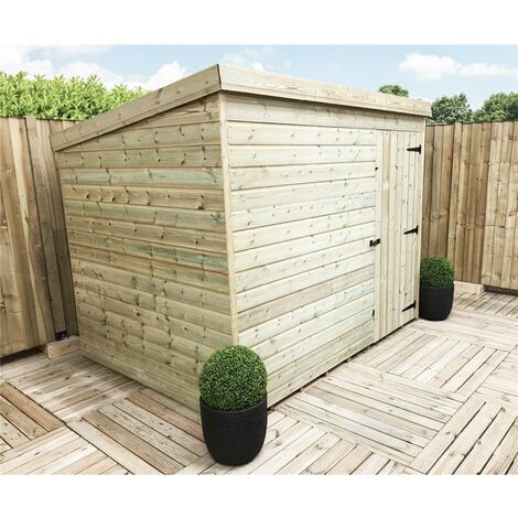 """main image of """"8 x 7 Windowless Pressure Treated Tongue And Groove Pent Shed With Single Door"""""""
