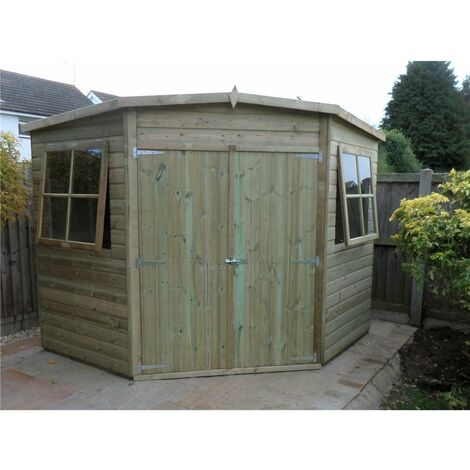 8 x 8 (2.25m x 2.25m) - Pressure Treated Tongue And Groove - Corner Shed - 2 Opening Windows - Double Doors - 12mm Tongue And Groove - CORE