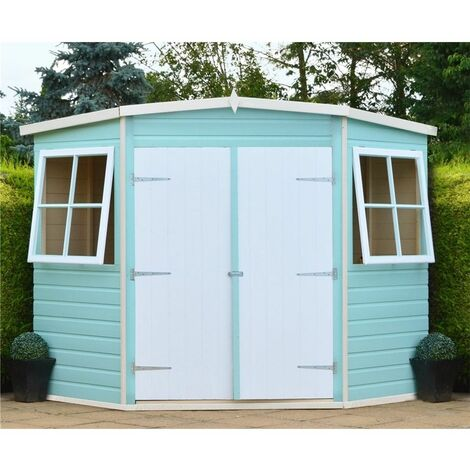 8 x 8 (2.25m x 2.25m) - Tongue & Groove - Corner Pent Shed / Workshop - 2 Opening Windows - Double Doors - 12mm T&G Floor (CORE)