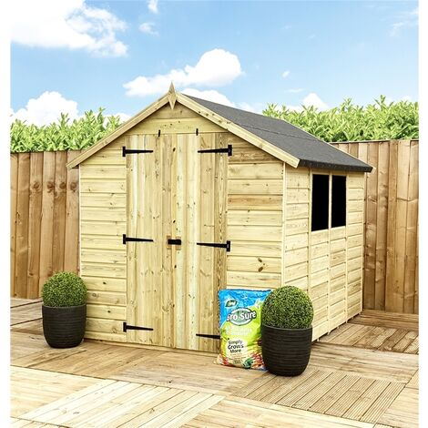 """main image of """"8 x 8 **Flash Reduction** Super Saver Pressure Treated Tongue & Groove Apex Shed + Double Doors + Low Eaves + 2 Windows"""""""