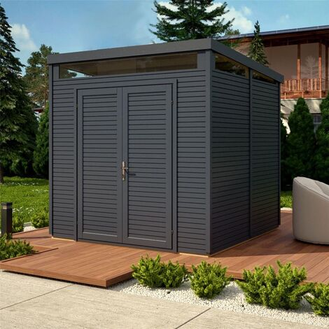 """main image of """"8 X 8 Pent Security Shed - Painted Anthracite - Double Doors - 19mm Tongue And Groove"""""""